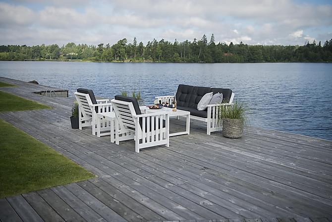 HILLERSTORP GOTLAND Bord + Soffa + 2 Fåtöljer Vit - Utemöbler - Utemöbelgrupper - Loungemöbler