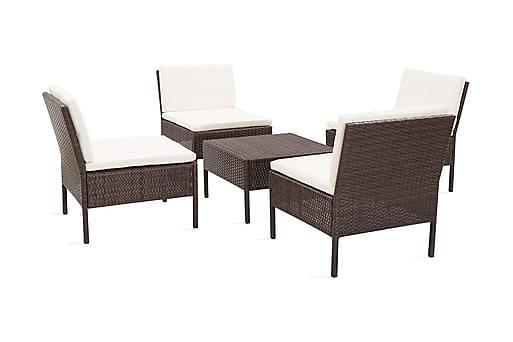 Soffgrupp för trädgården med dynor 5 delar konstrotting brun, Loungemöbler