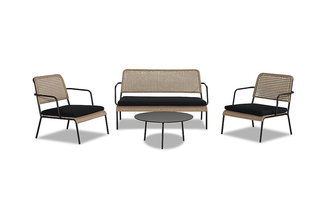 TAHITI Soffgrupp med Bord Svart/Beige - Utemöbler - Utemöbelgrupper - Loungemöbler