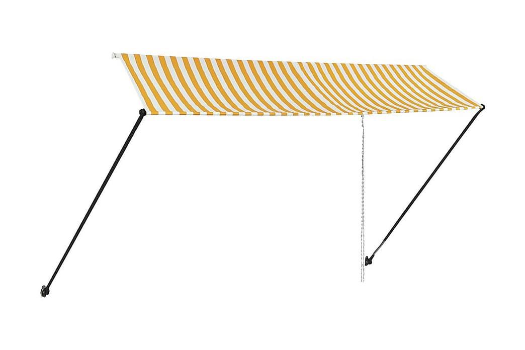 Infällbar markis med LED 350x150 cm gul och vit - Gul - Utemöbler - Solskydd - Markiser