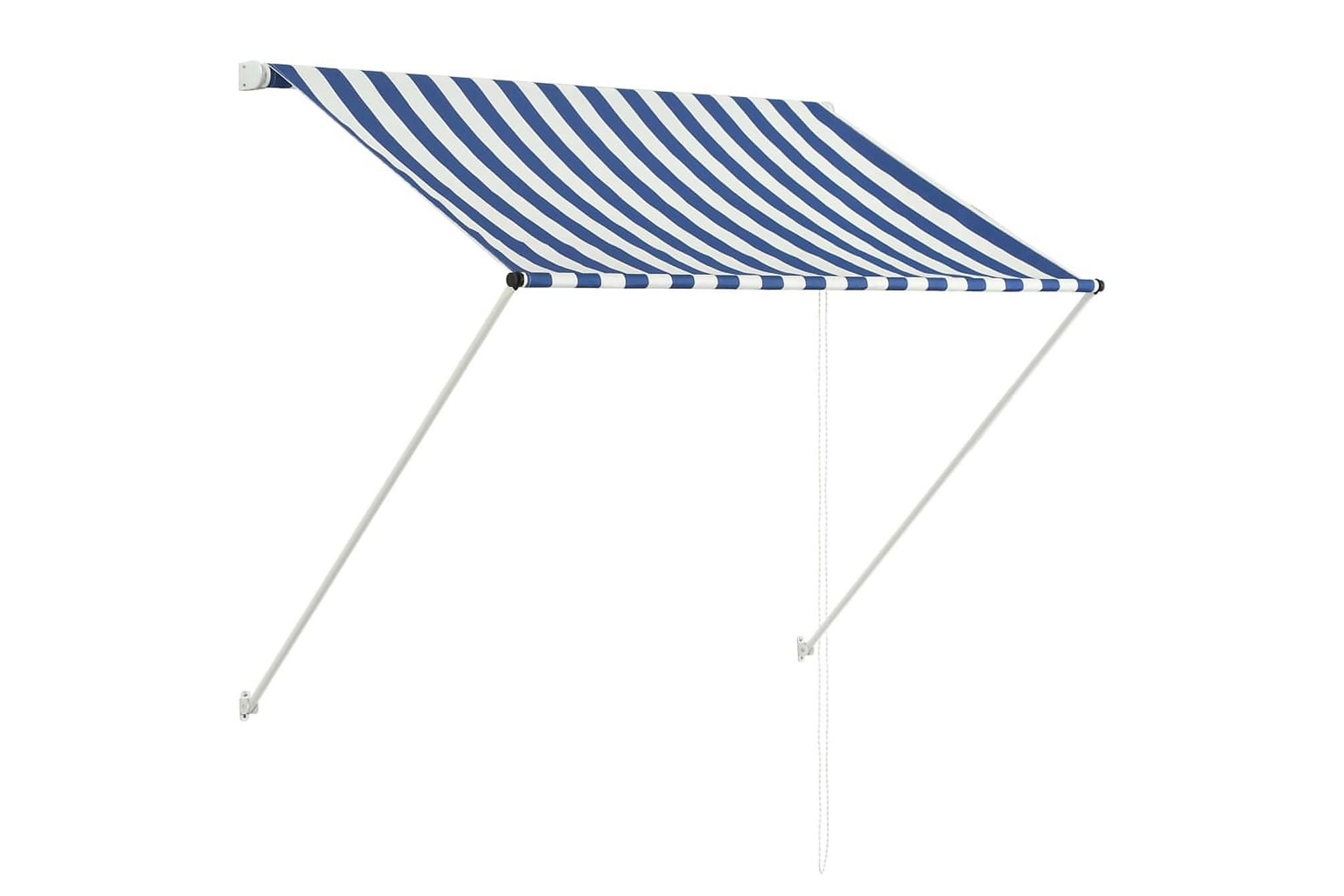 Markis 150×150 cm blå & vit