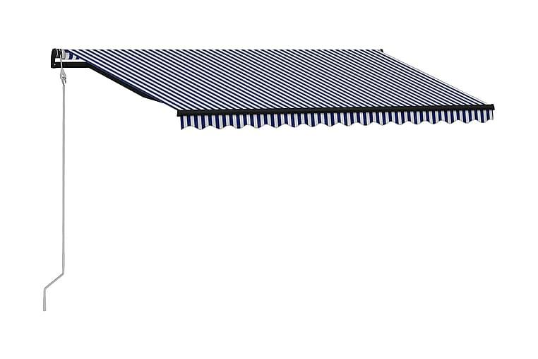Markis automatiskt infällbar 450x300 cm - Blå - Utemöbler - Solskydd - Markiser