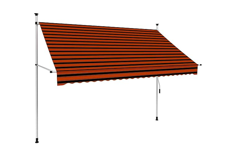 Markis manuellt infällbar 250 cm orange och brun - Flerfärgad - Utemöbler - Solskydd - Markiser