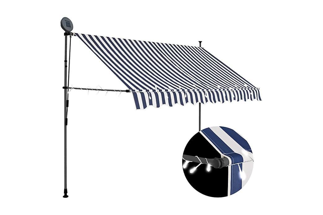 Markis manuellt infällbar med LED 250 cm blå och vit - Flerfärgad - Utemöbler - Solskydd - Markiser