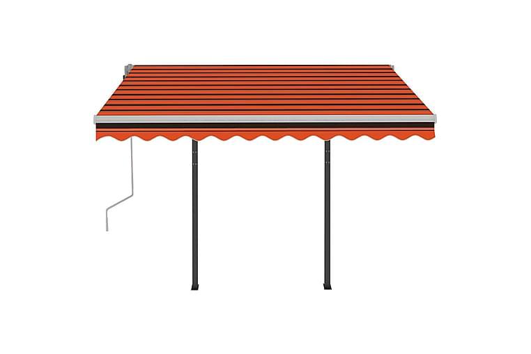 Markis manuellt infällbar med LED 3x2,5 m orange och brun - Utemöbler - Solskydd - Markiser