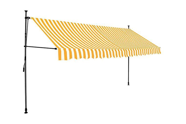 Markis manuellt infällbar med LED 400 cm vit och orange - Flerfärgad - Utemöbler - Solskydd - Markiser