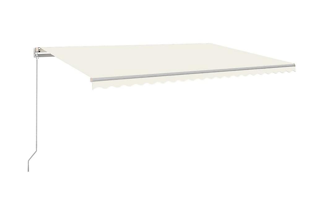 Markis manuellt infällbar med LED 500x350 cm gräddvit - Kräm - Utemöbler - Solskydd - Markiser