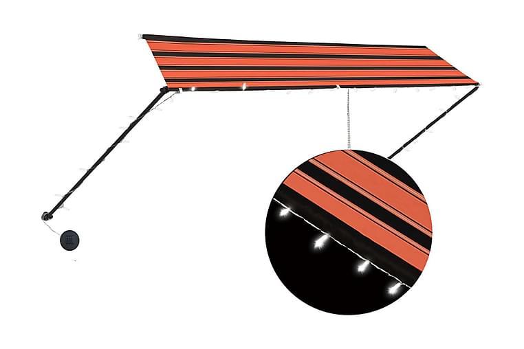 Markis med LED 350x150 cm orange och brun - Flerfärgad - Utemöbler - Solskydd - Markiser