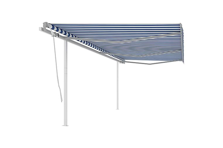 Markis med stolpar manuellt infällbar 6x3 m blå och vit - Blå - Utemöbler - Solskydd - Markiser