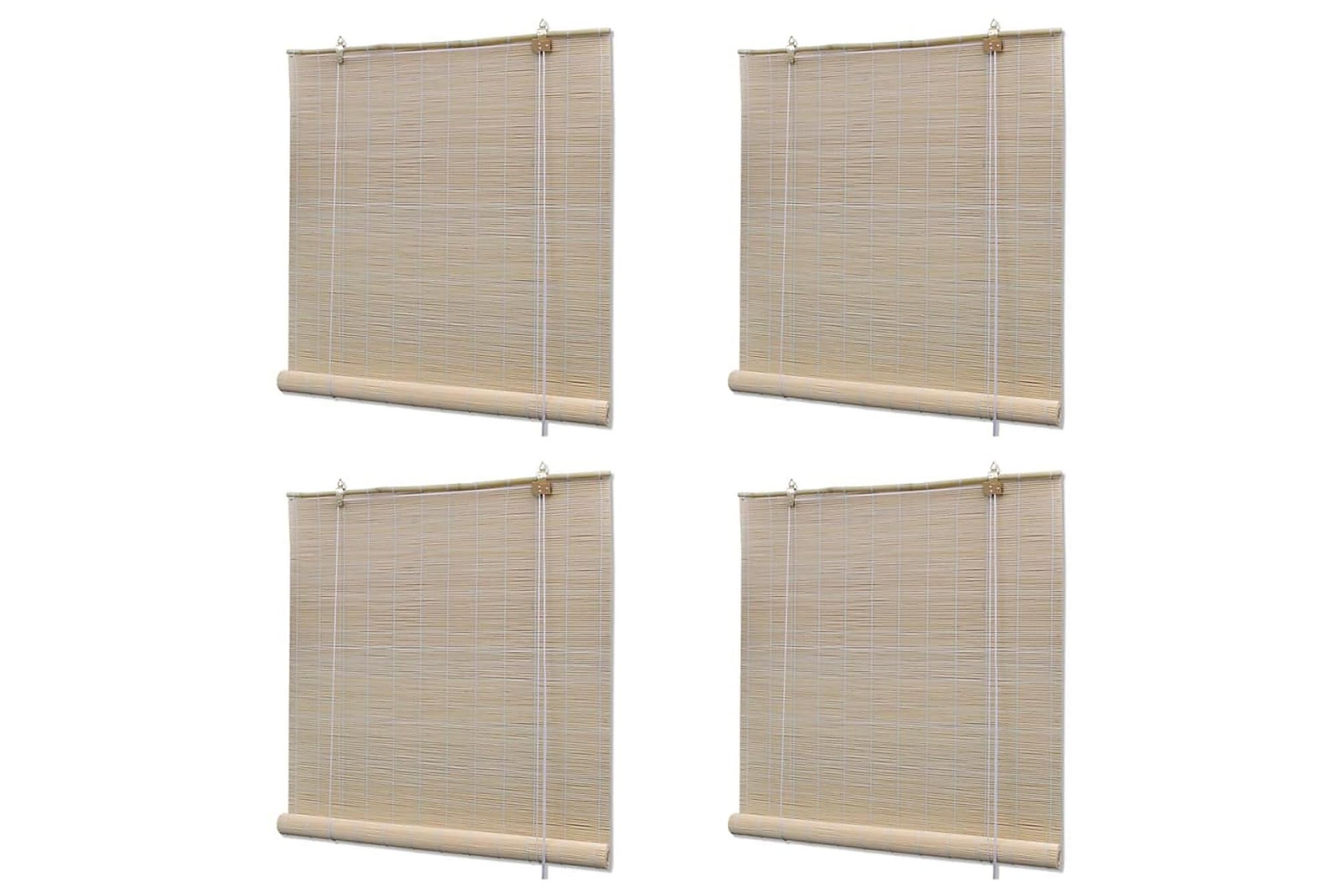 Rullgardin naturlig bambu 4 st 120×160 cm