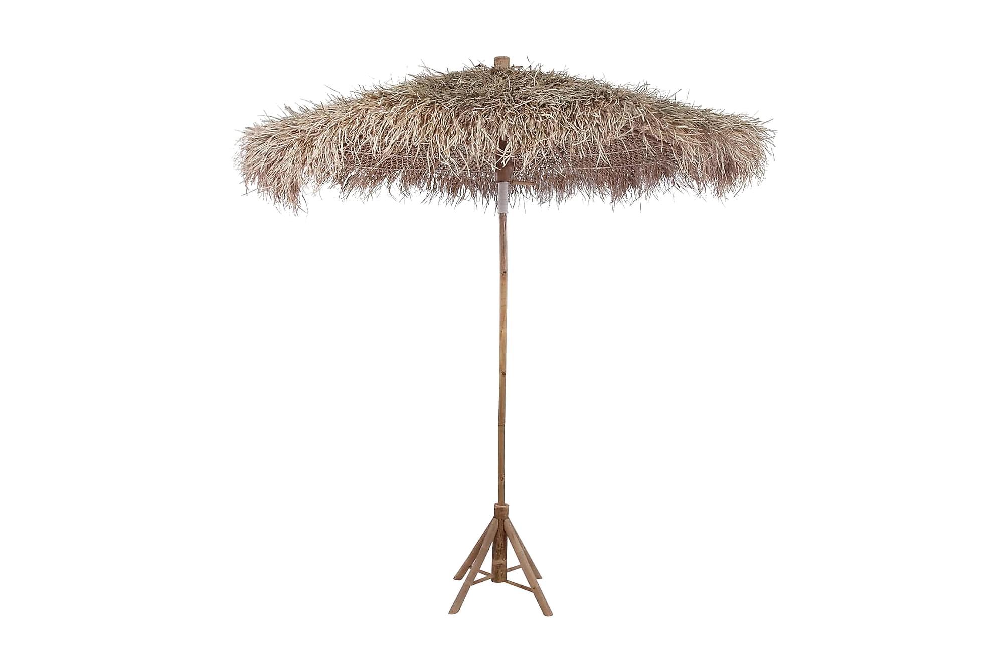 Bambuparasoll med bananbladstak 210 cm, Parasoll