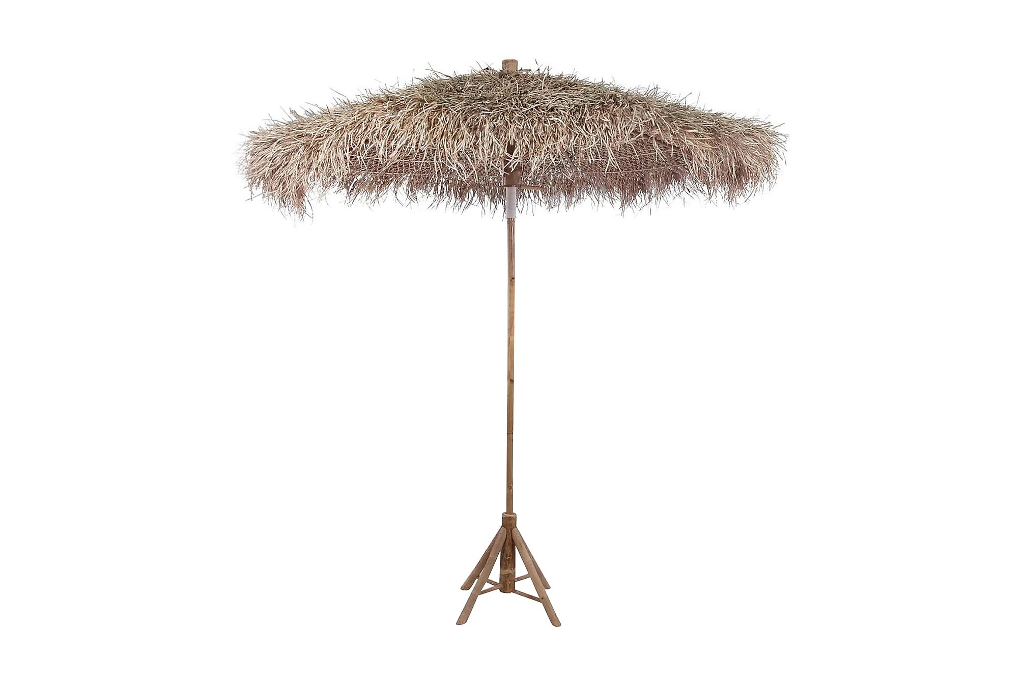 Bambuparasoll med bananbladstak 270 cm, Parasoll