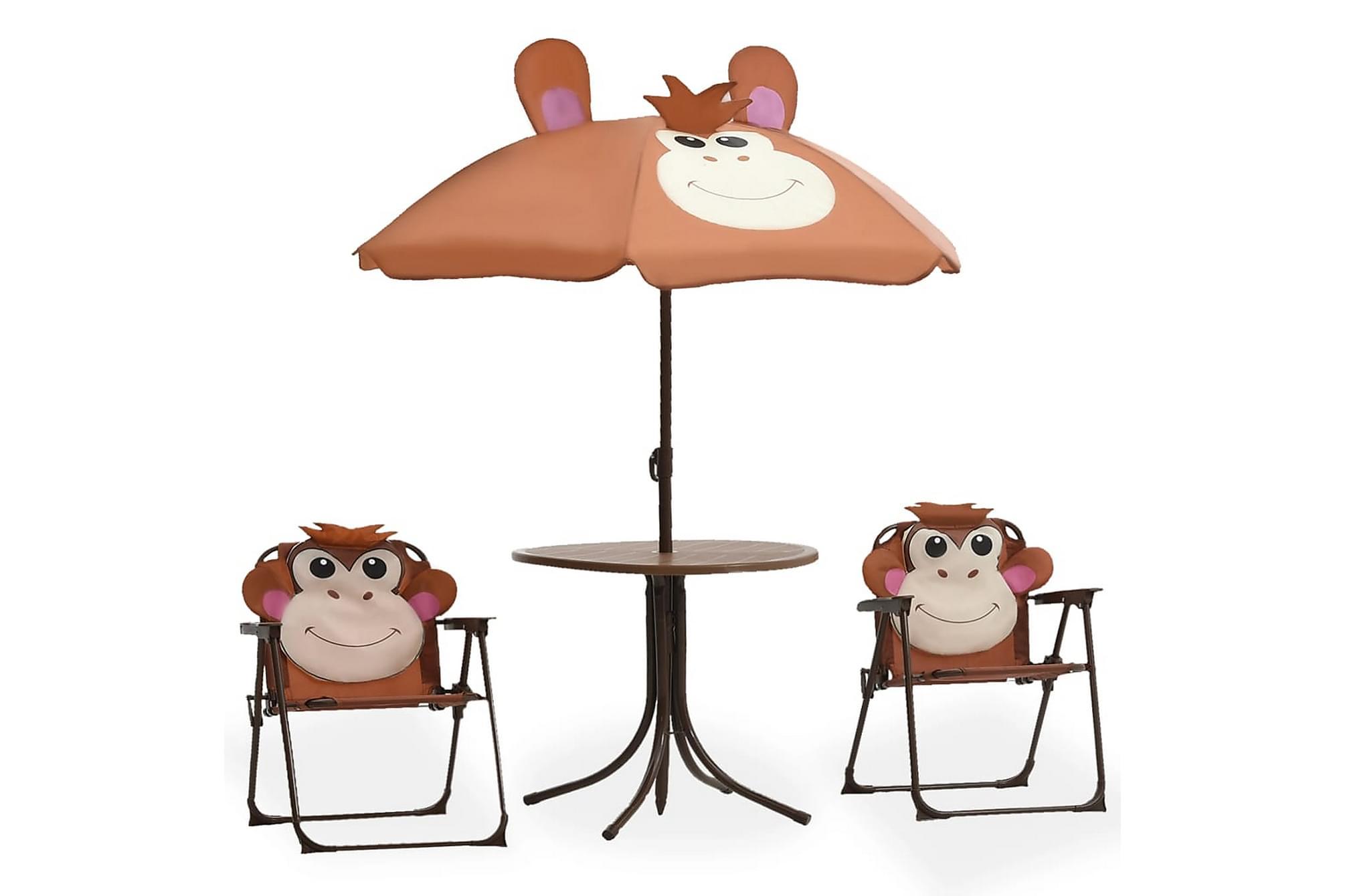 Caféset för barn med parasoll 3 delar brun, Parasoll