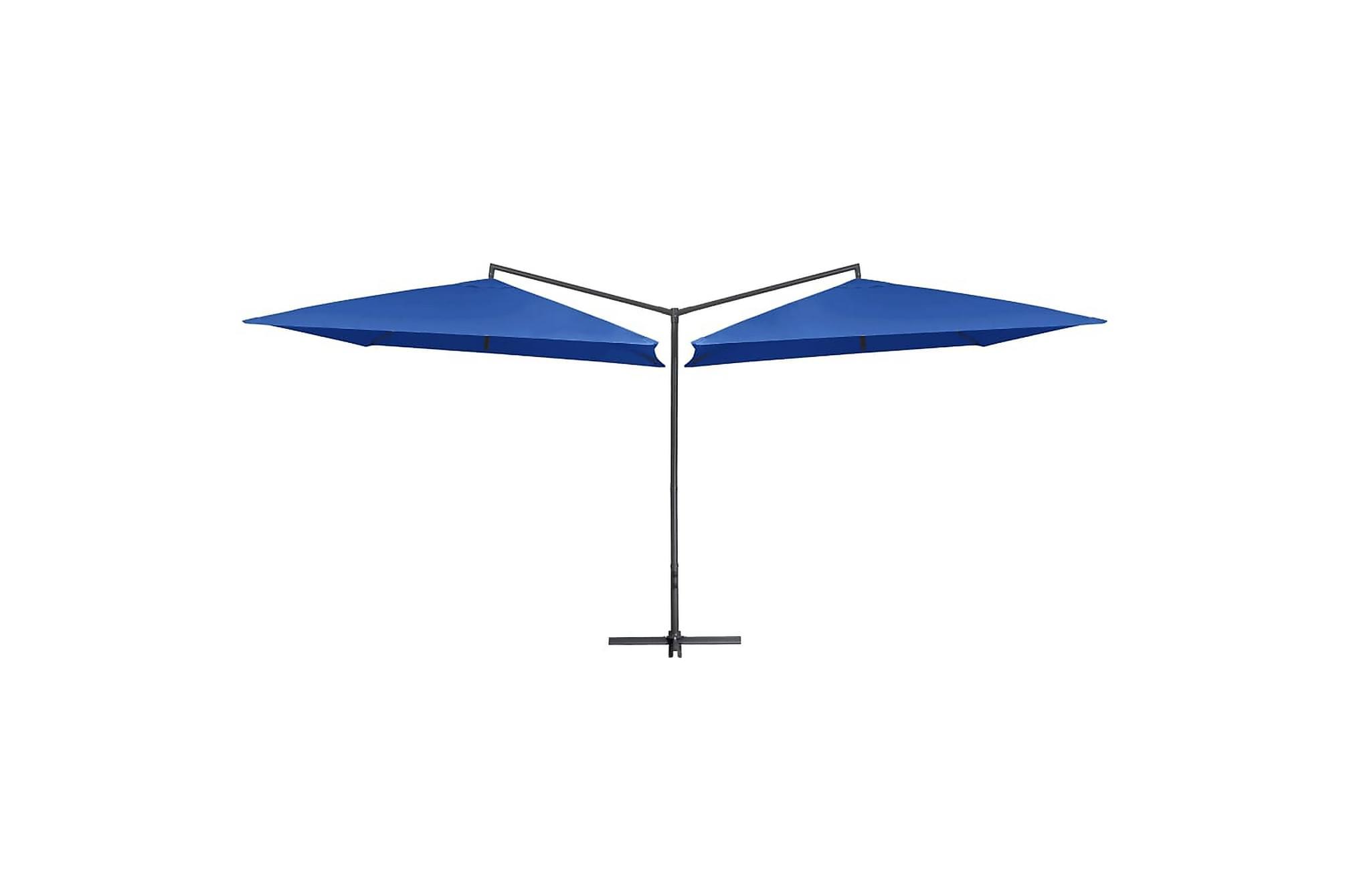 Dubbelt parasoll med stålstång 250x250 cm azurblå, Parasoll