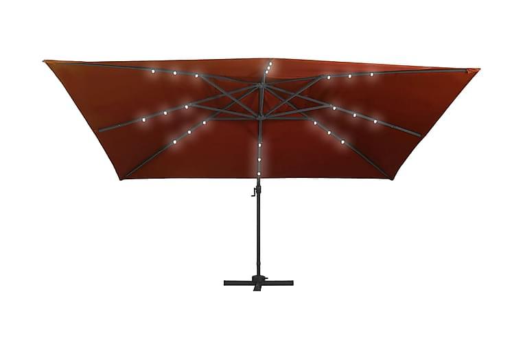 Frihängande parasoll med LED terrakotta 400x300 cm - Röd - Utemöbler - Solskydd - Parasoll