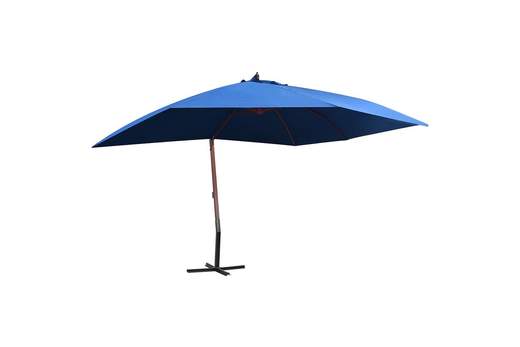 Hängande parasoll med trästång 400x300 cm blå, Parasoll