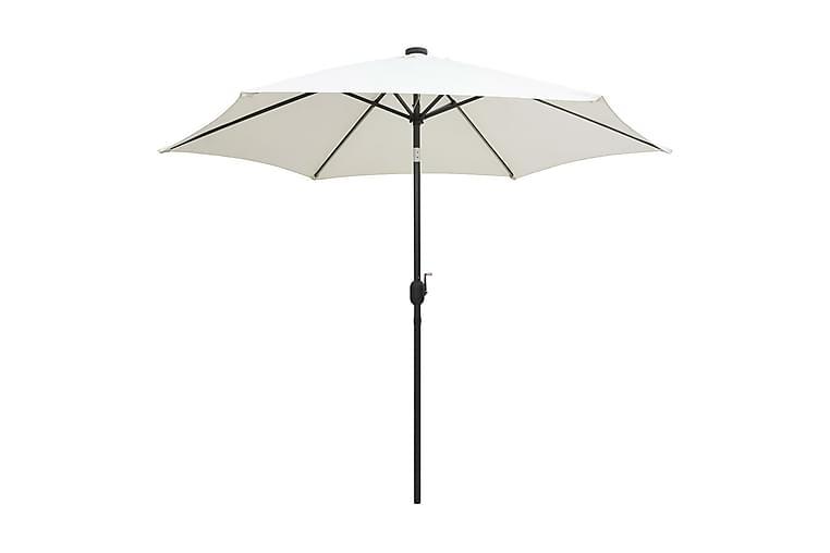 Parasoll med LED-lampor och aluminiumstång 300 cm sandvit - Vit - Utemöbler - Solskydd - Parasoll