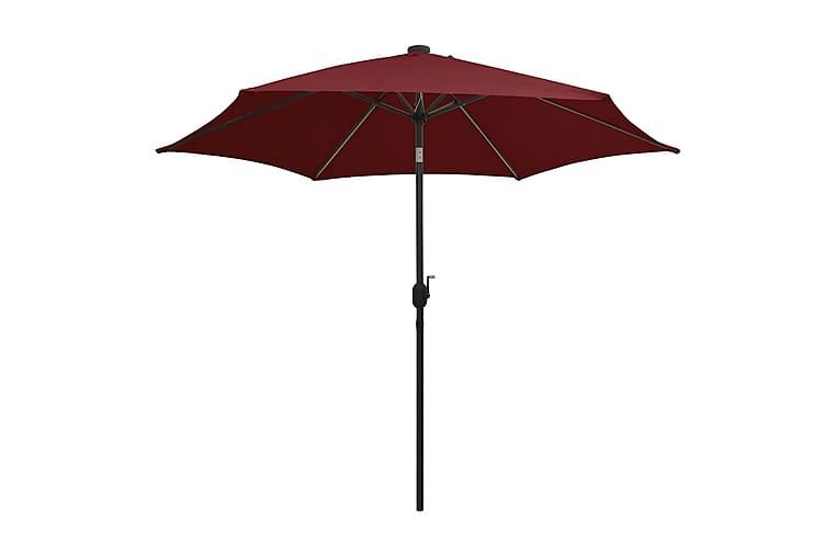 Parasoll med LED-lampor och aluminiumstång 300 cm vinröd - Röd - Utemöbler - Solskydd - Parasoll