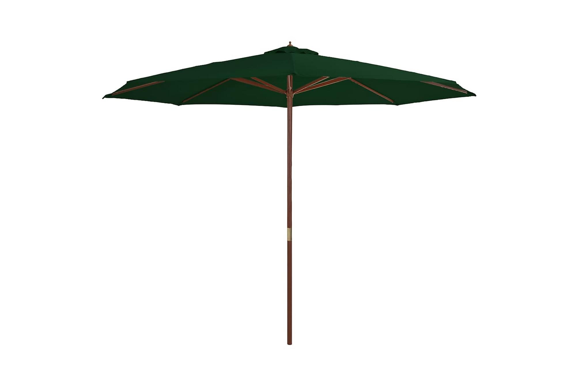 Trädgårdsparasoll m. trästång grönt 350 cm
