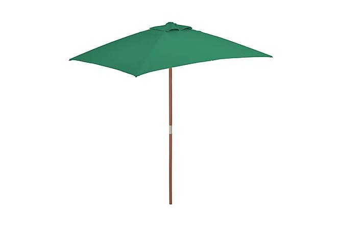 Trädgårdsparasoll med trästång 150x200 cm grön - Grön - Utemöbler - Solskydd - Parasoll