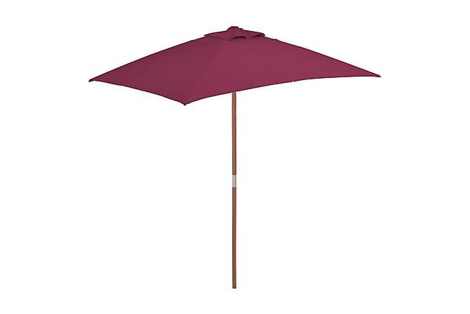 Trädgårdsparasoll med trästång 150x200 cm vinröd - Vinröd - Utemöbler - Solskydd - Parasoll