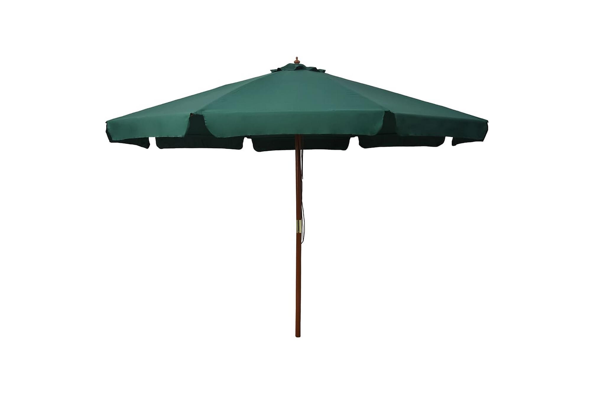 Trädgårdsparasoll med trästång 330 cm grön