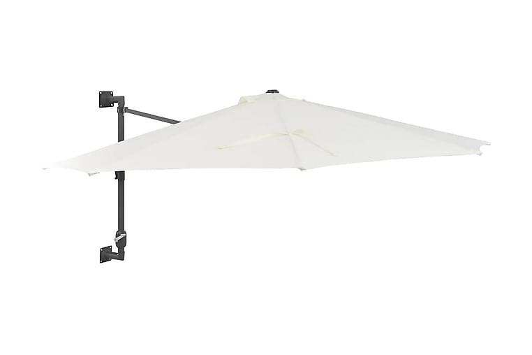 Väggmonterat parasoll med metallstång 300 cm sand - Beige - Utemöbler - Solskydd - Parasoll