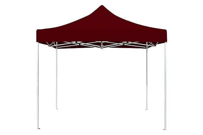 Hopfällbart partytält aluminium 2x2 m vinröd - Röd - Utemöbler - Solskydd - Paviljonger