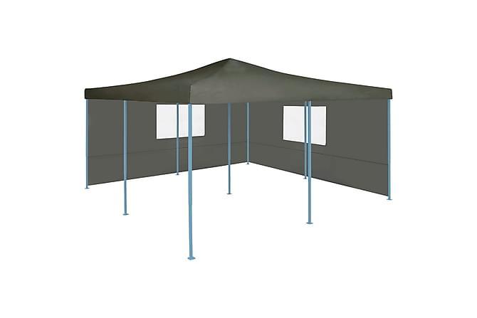 Hopfällbart partytält med 2 sidoväggar 5x5 m antracit - Grå - Utemöbler - Solskydd - Paviljonger
