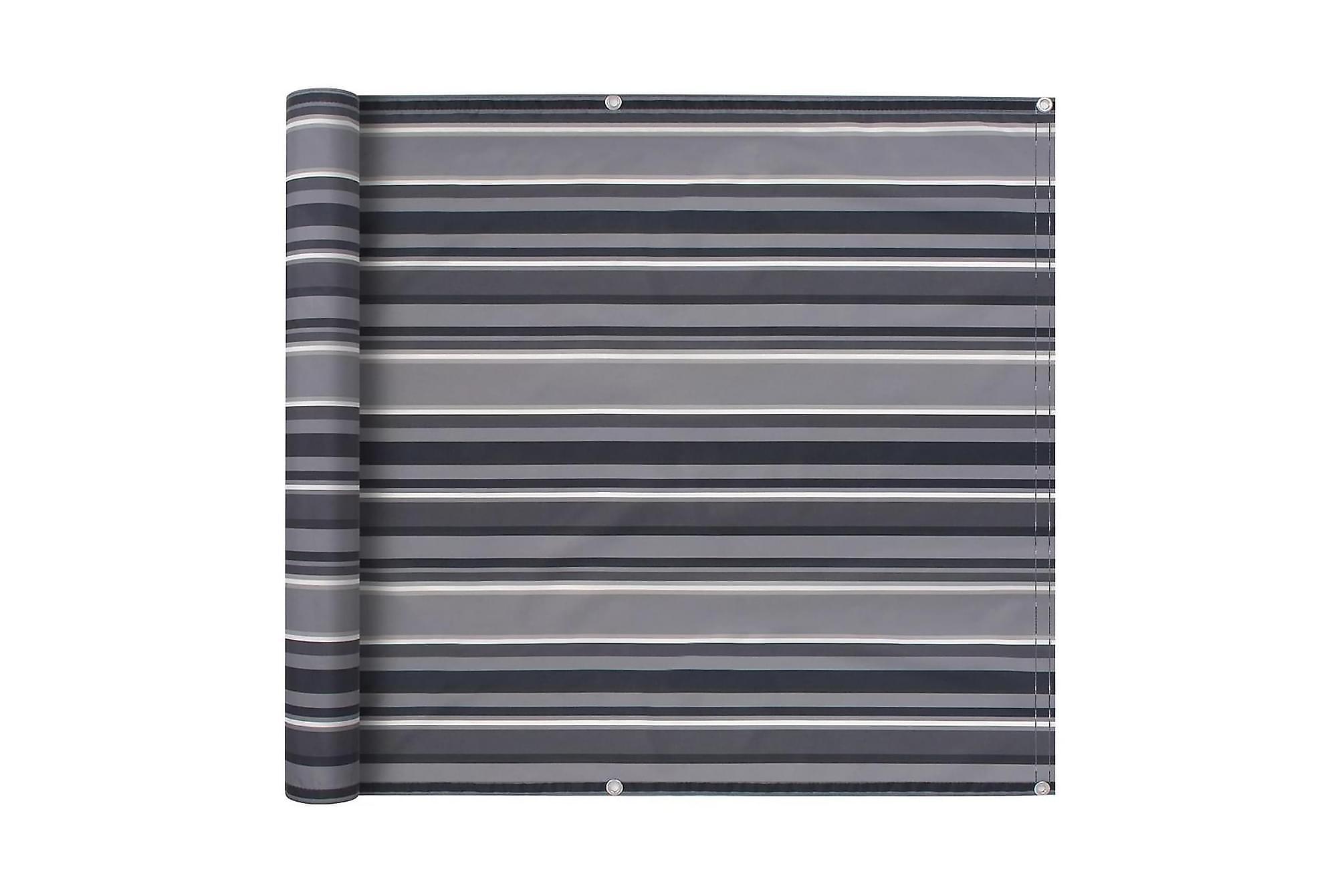 Balkongskärm oxfordtyg 75x600 cm randig grå, Solskydd