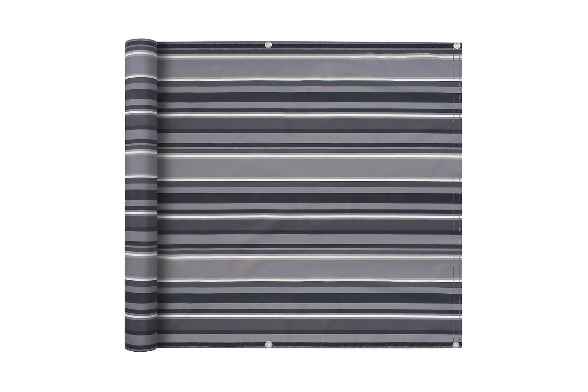 Balkongskärm oxfordtyg 90x600 cm randig grå, Solskydd
