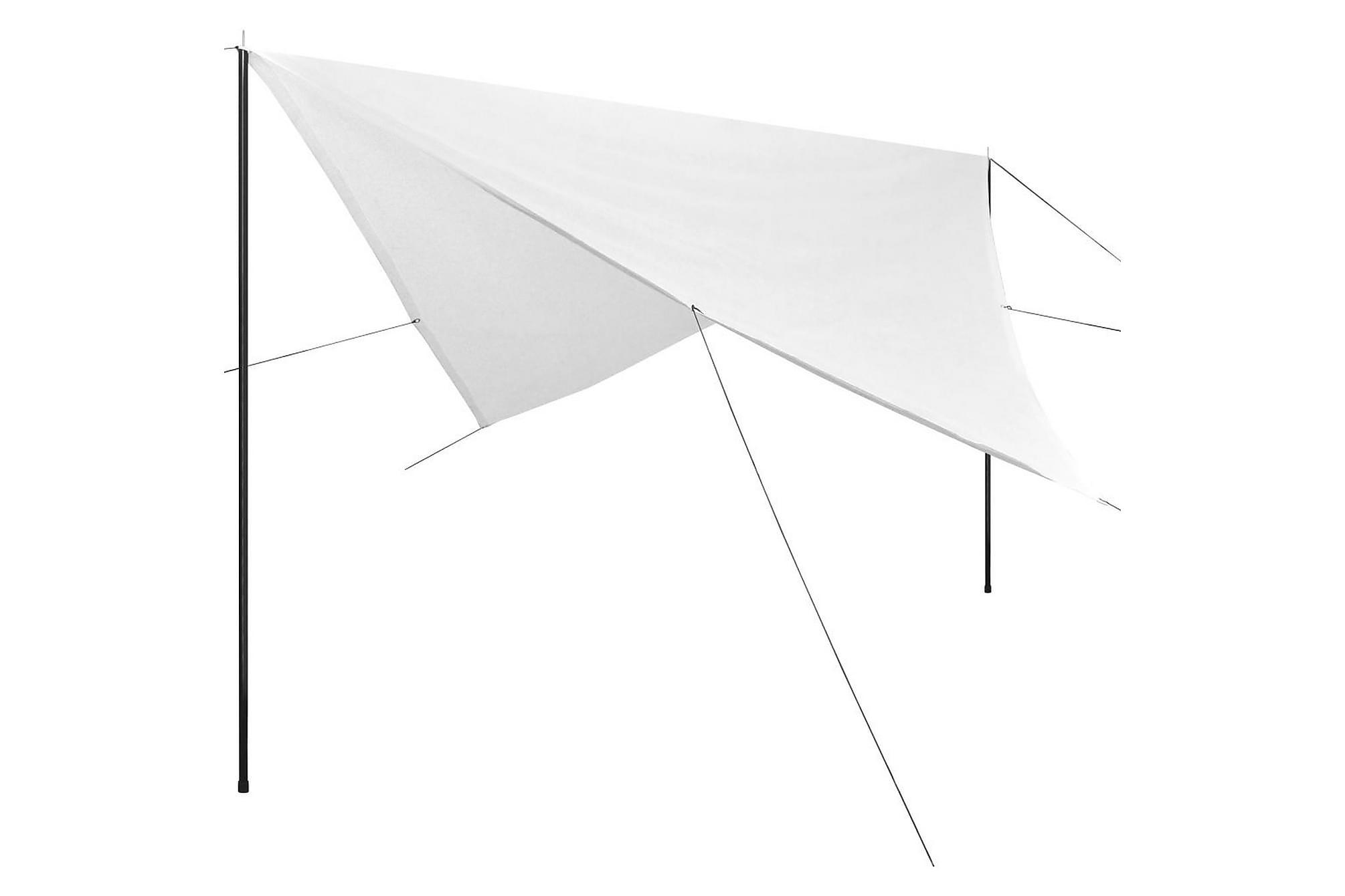 Solskydd med stolpar tarp HDPE fyrkantig 4x4 m vit