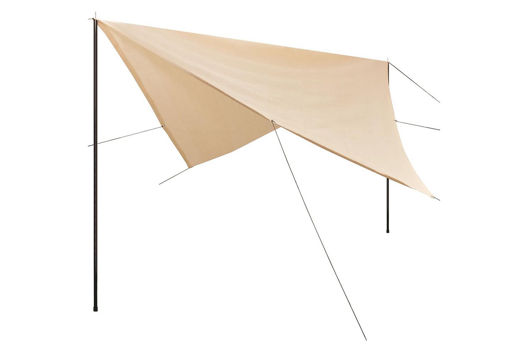 Solskydd med stolpar tarp HDPE fyrkantig 5x5 m gräddvit