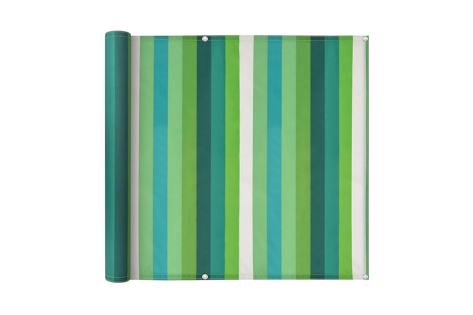 Balkongskärm oxfordtyg 75x600 cm randig grön, Solskydd