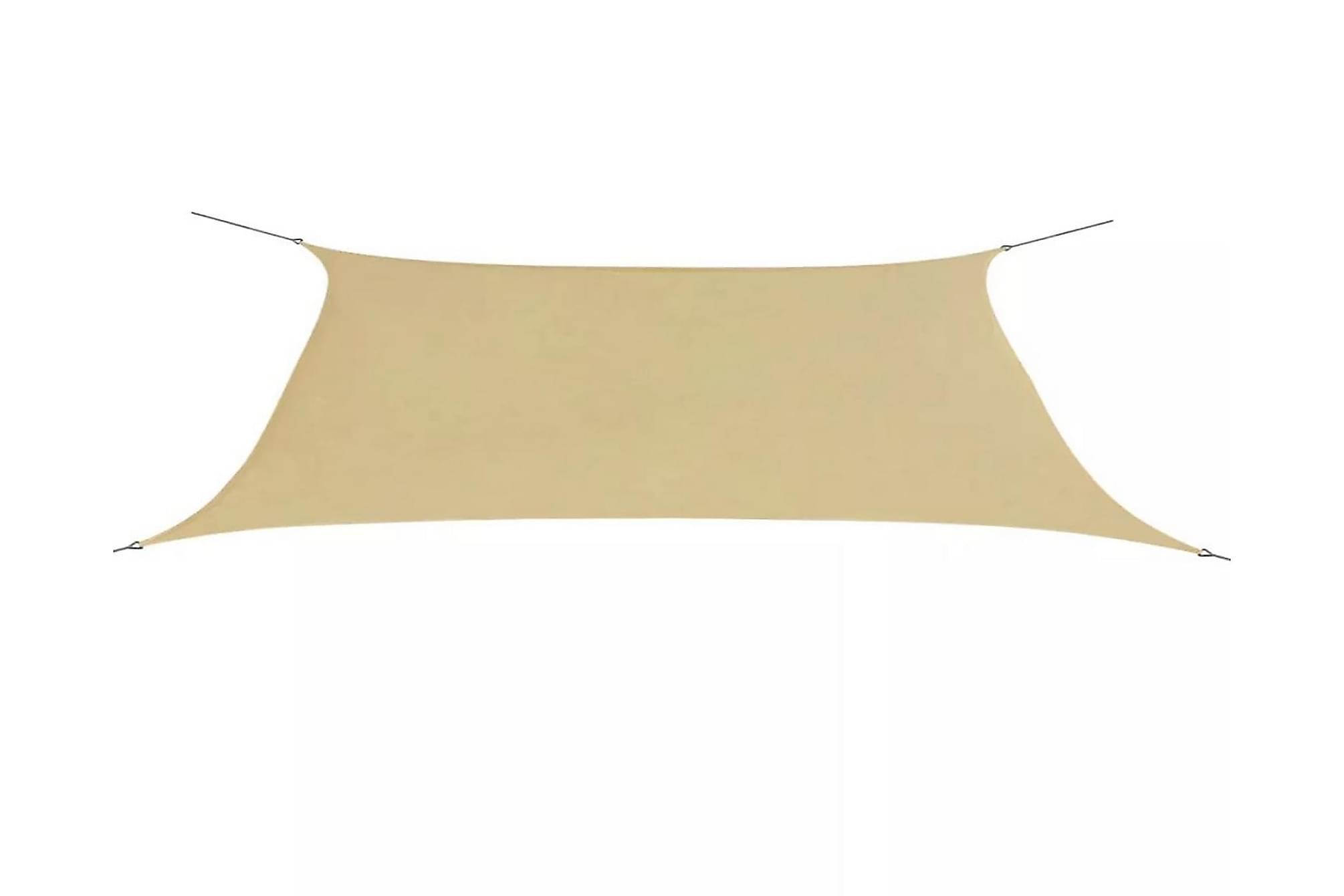 Solsegel Oxfordtyg rektangulärt 4x6 m beige