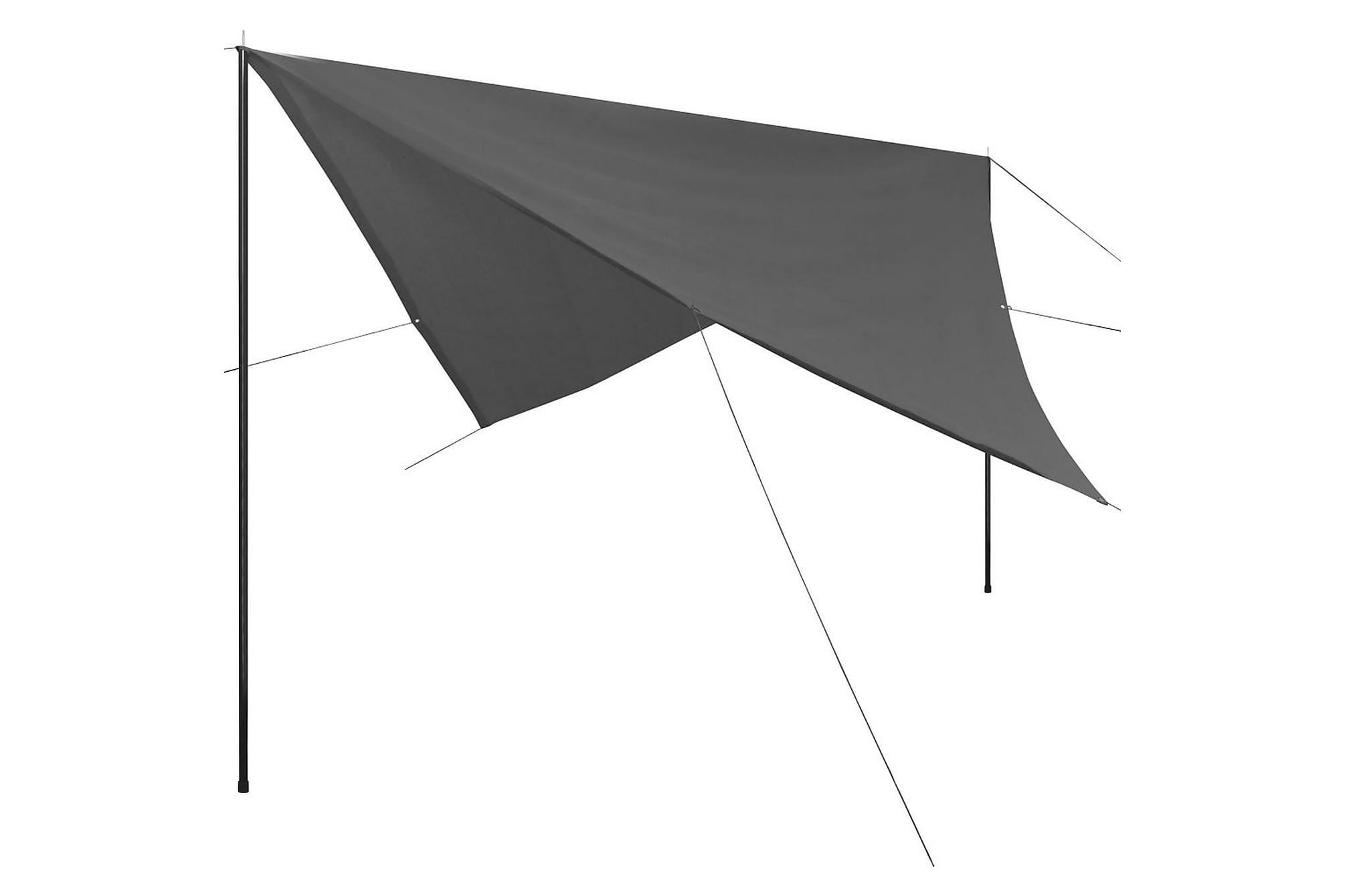 Solskydd med stolpar tarp HDPE fyrkantig 3x3 m antracit