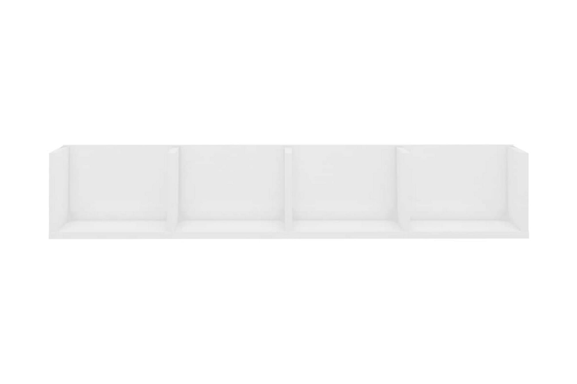 CD-hylla vit högglans 100x18x18 cm spånskiva, Hylla