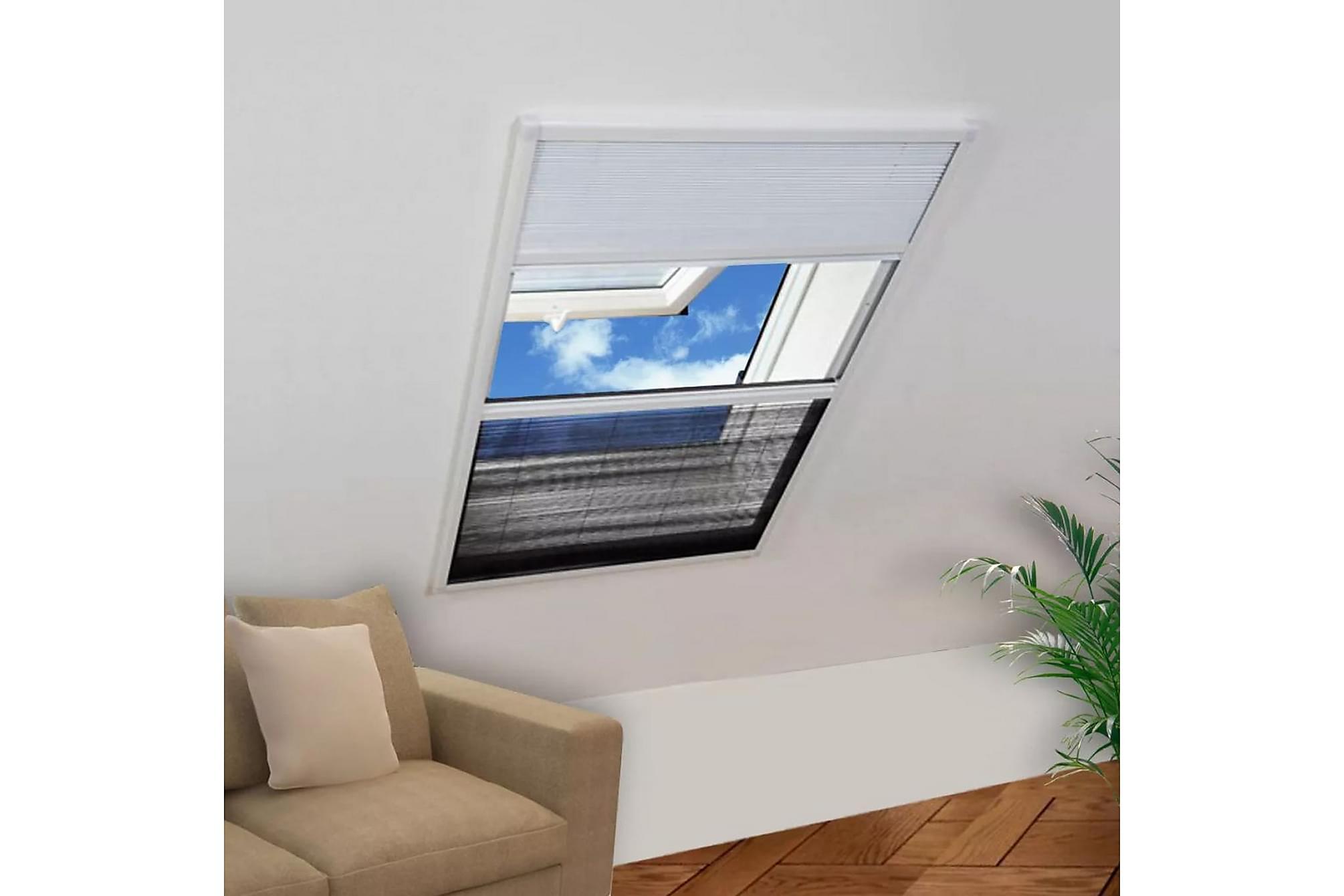 Insektsnät plissé till fönster 160 x 110 cm med solskydd, Myggnät