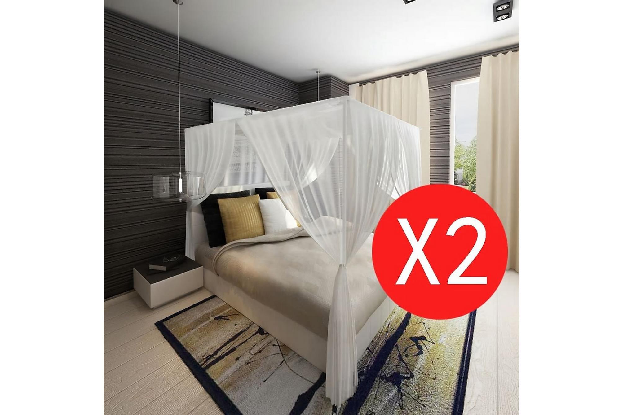 Myggnät för säng 220x200x210 cm vit 2-pack