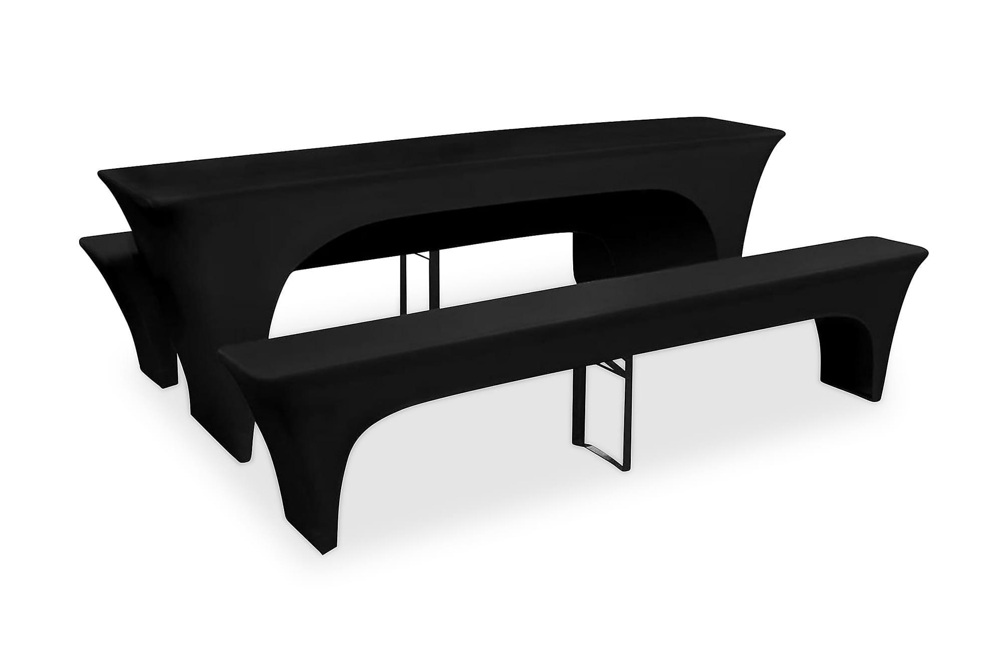 3 Möbelöverdrag för ölbord&bänkarstretch Svart 220x50x80cm, Möbelöverdrag