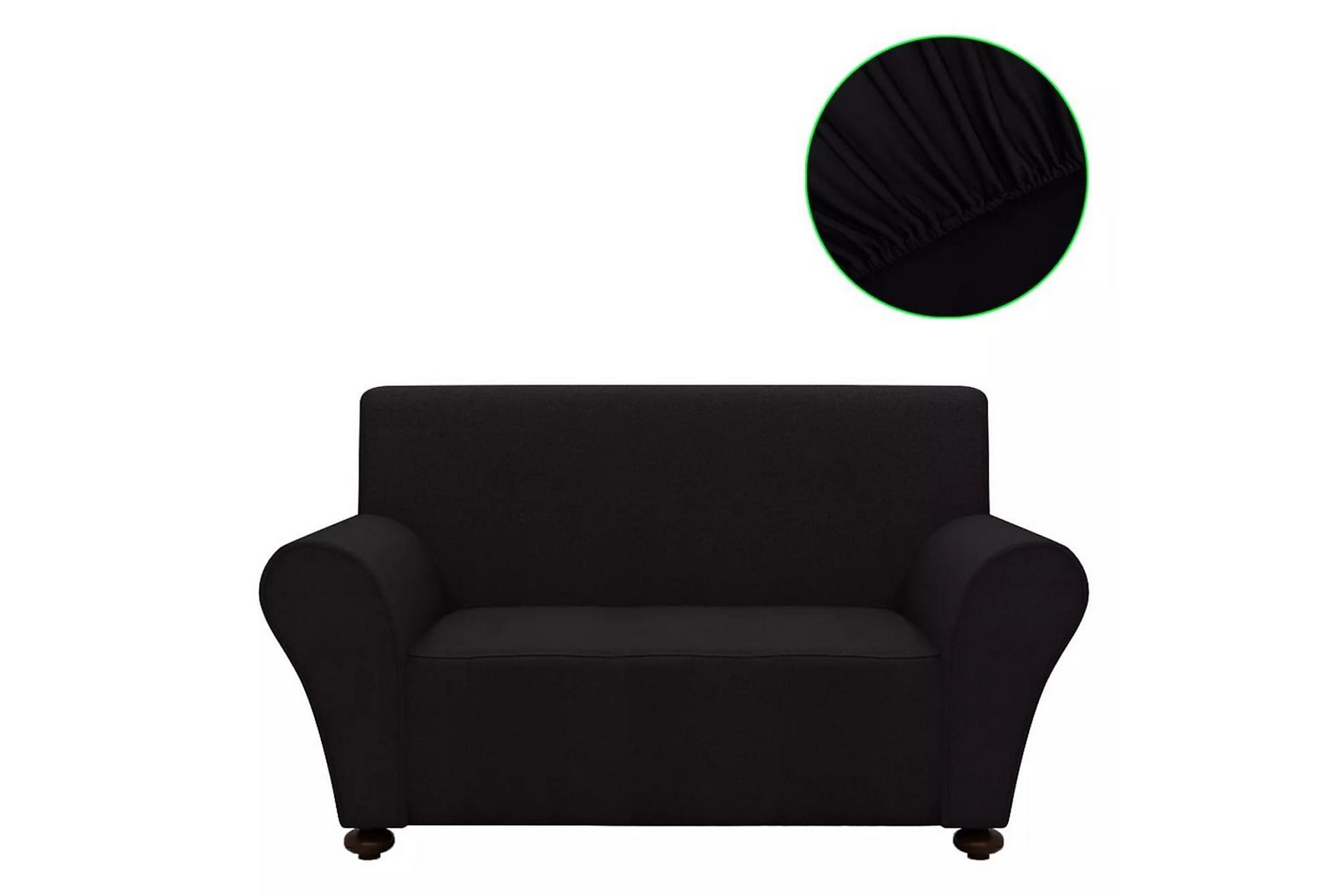 Sofföverdrag med stretch svart polyesterjersey