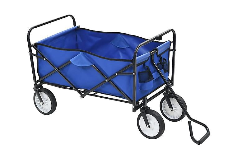 Hopfällbar handvagn stål blå - Blå - Utemöbler - Tillbehör - Övriga trädgårdstillbehör