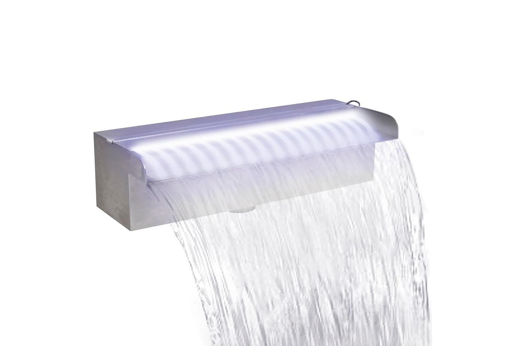 Rektangulärt Vattenfall Poolfontän m. LEDs i rostfritt stål