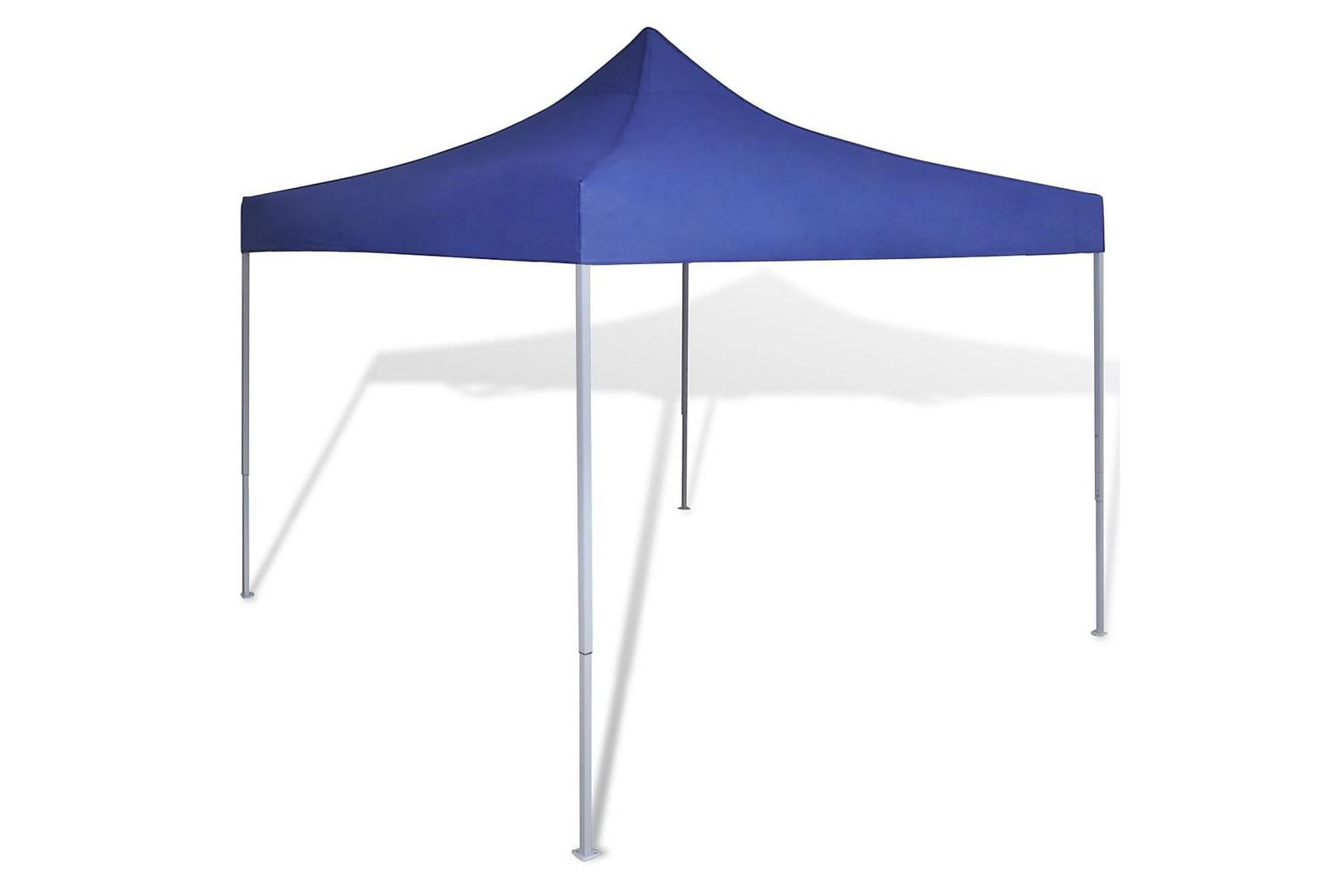 Blått hopfällbart tält 3 x 3 m, Partytält