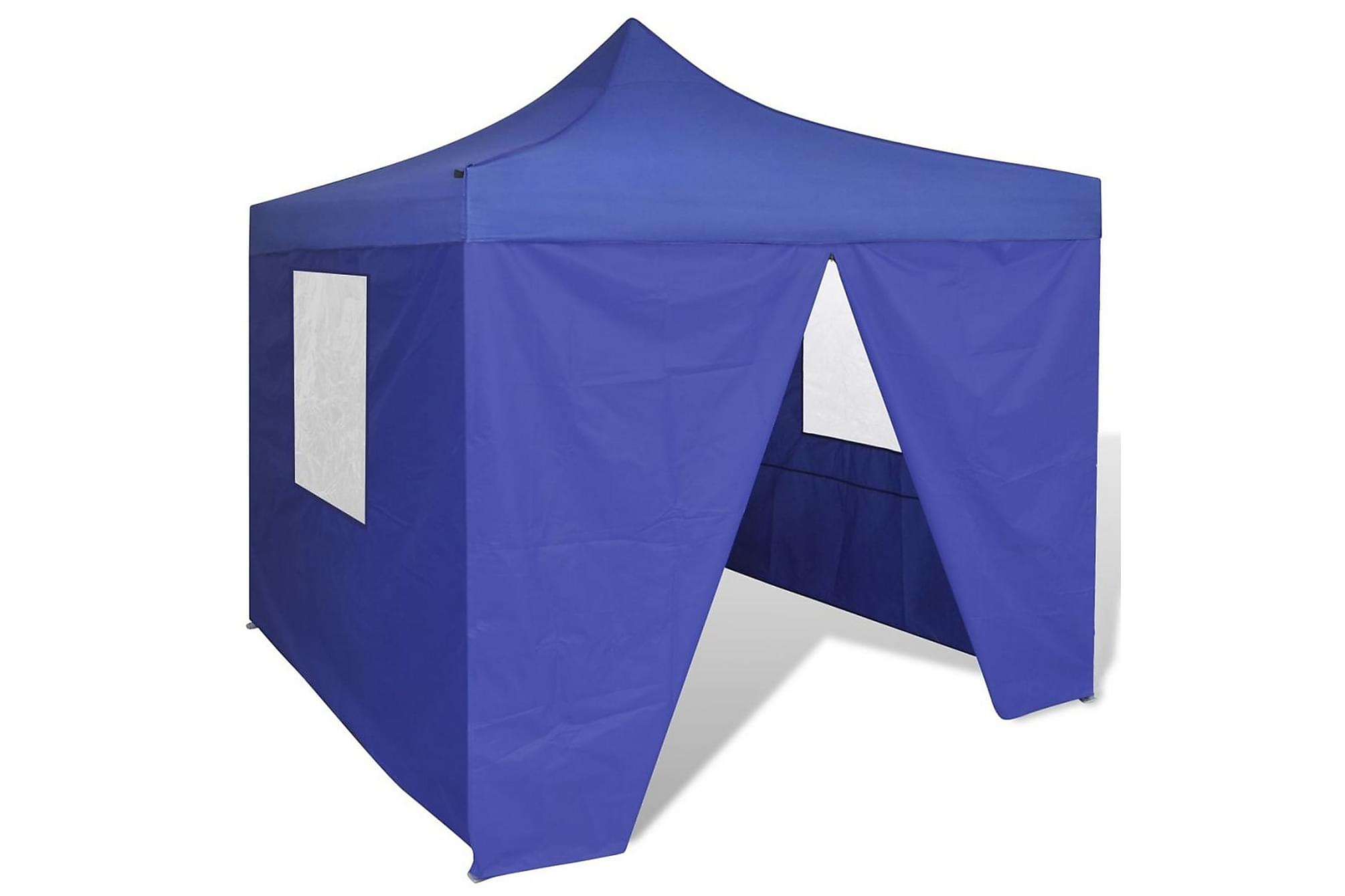 Blått hopfällbart tält 3 x 3 m med 4 väggar, Partytält