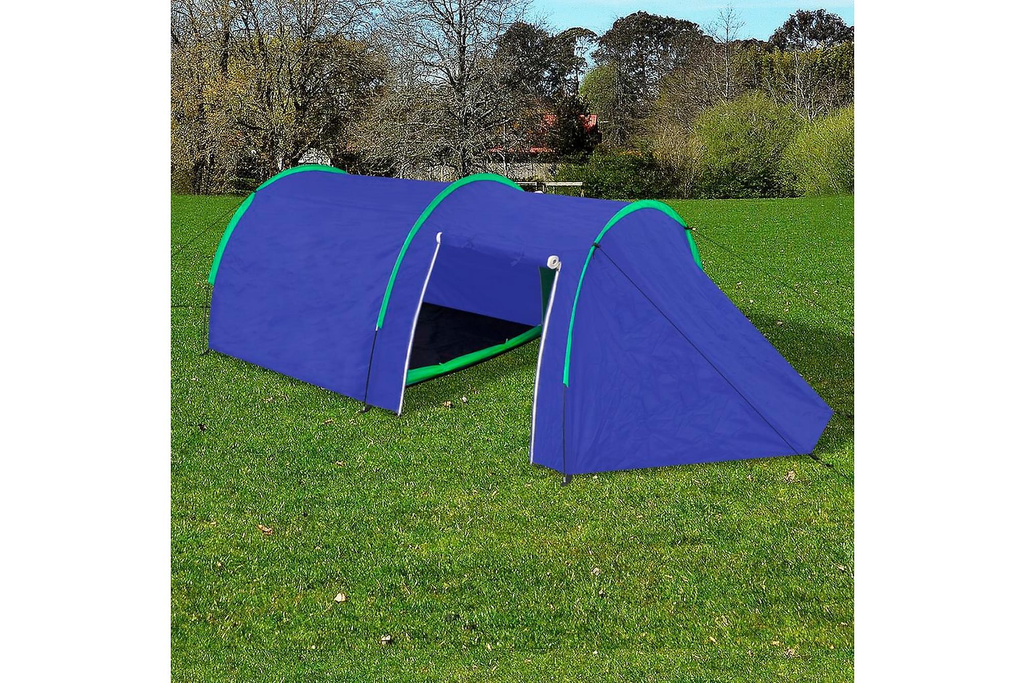 Campingtält 4-personer marinblå, gröna linjer, Partytält