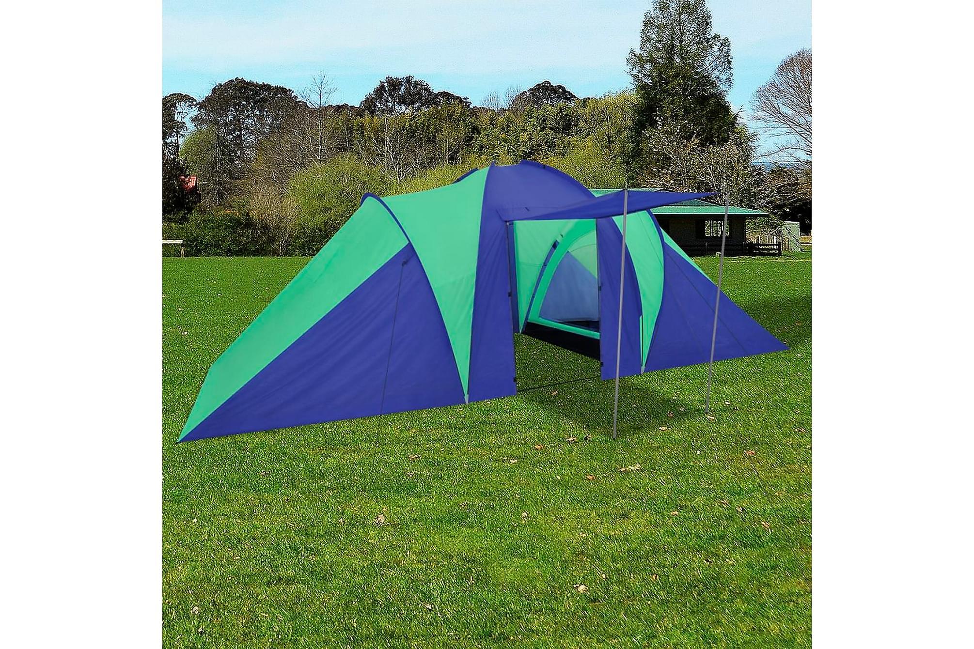 Campingtält 6 personer 580x240x200cm marinblå/grön, Partytält
