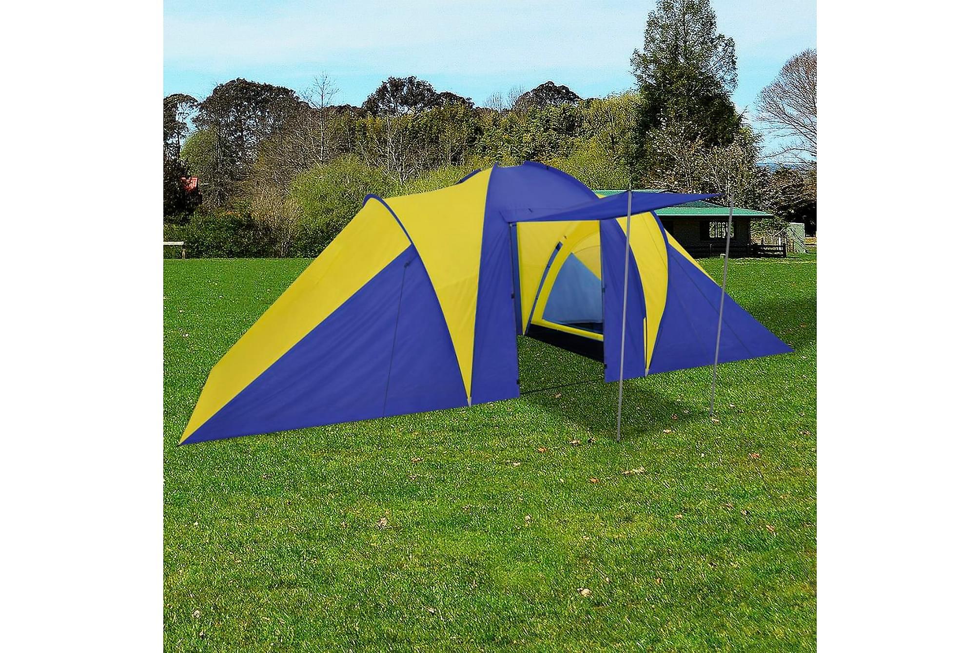 Campingtält 6 personer 580x240x200cm marinblå/gul, Partytält
