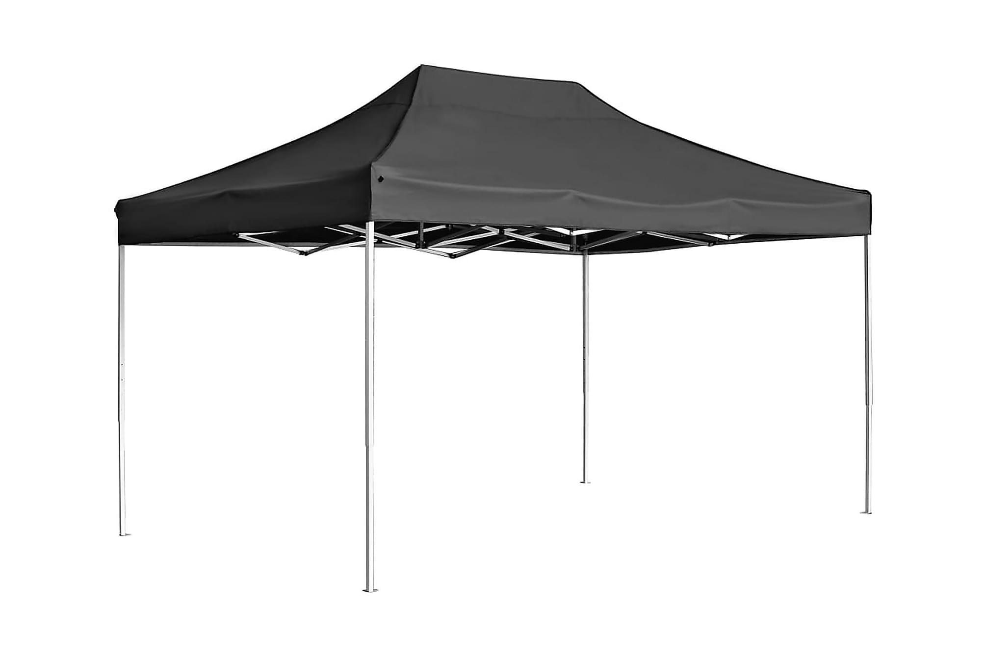 Hopfällbart partytält aluminium 4,5×3 m antracit