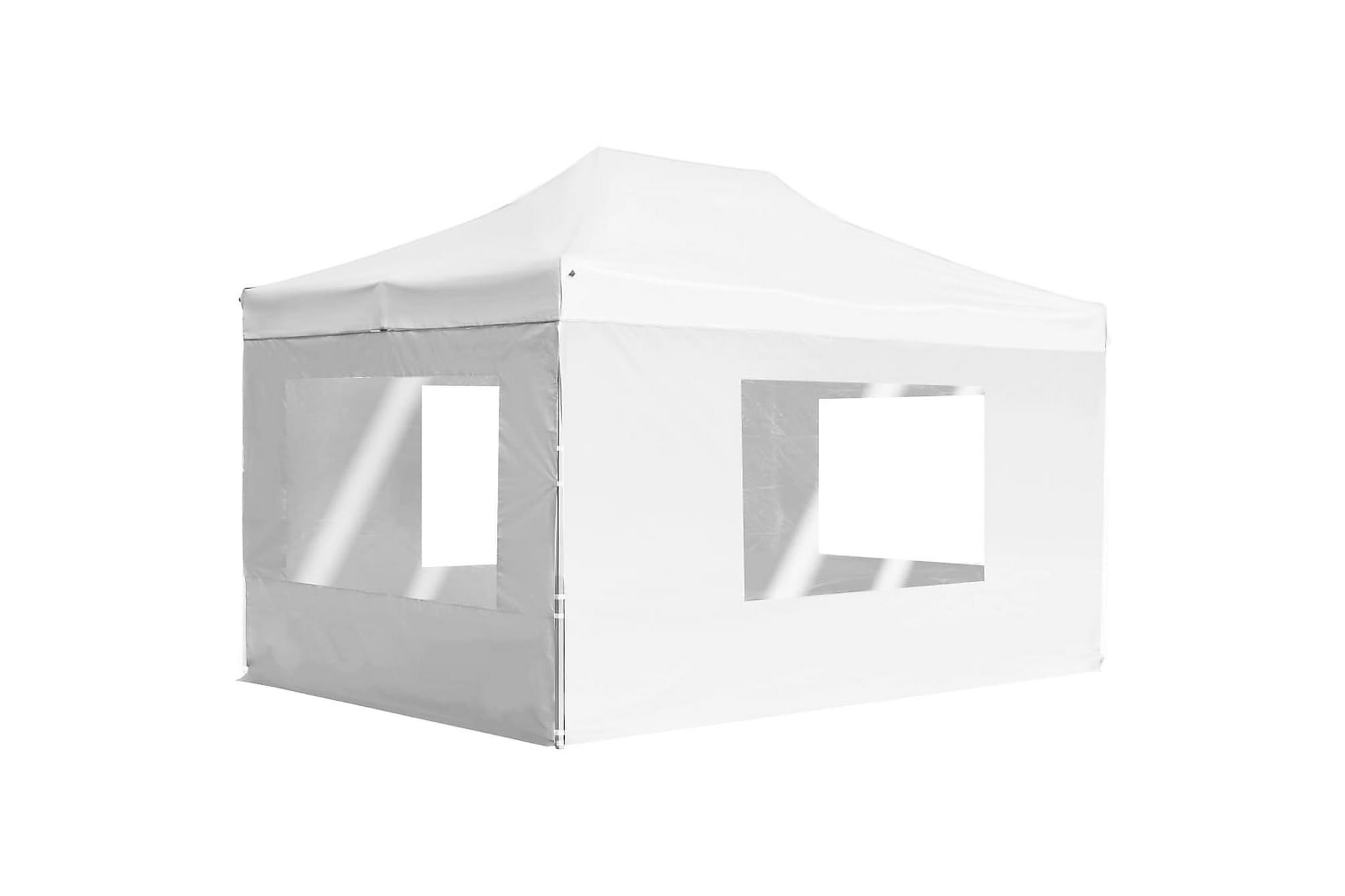 Hopfällbart partytält med väggar aluminium 4,5×3 m vit